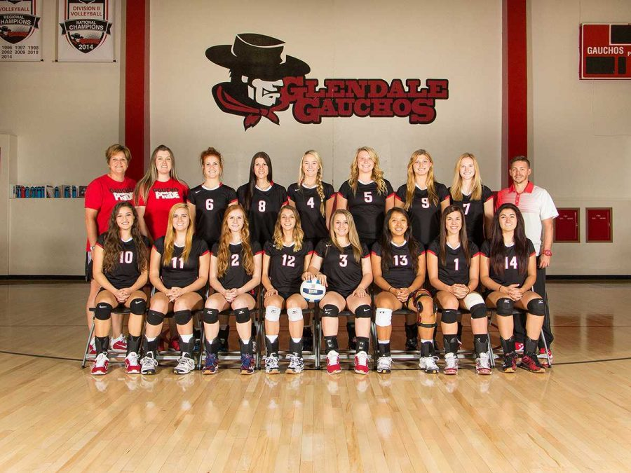 The GCC Volleyball team poses for the 2015/2016 team photo.