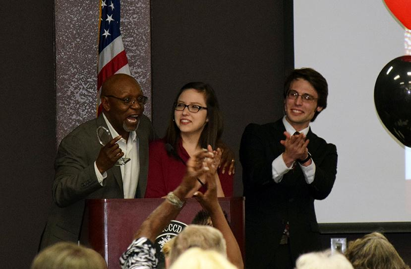 Photo by Shelley Handley: Hall of Fame inductee Phillippi Sparks (left) addresses the audience with masters of ceremonies, Destinee Sior (center) and Kyle Backer (right) at the GCC Athletics Hall of Fame April 2.