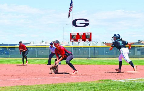 Lady Gauchos' infielders await the ball as they attempt to protect a 4-1 lead April 16.
