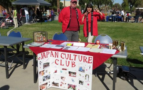 Students Daniel Conner and Deya Trancoso staff the Japanese Culture Club table at the Club Fair Feb. 6 (Glendale)