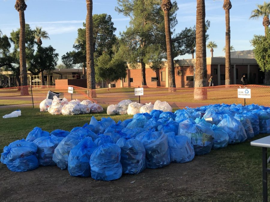 Recycled+material+sorted+into+clean+recyclables%2C+contaminated+bottles%2Fcans%2C+and+garbage+piles+during+the+eighth+annual+%22Recycle+Dive%22+November+14%2C+2019+in+Glendale%2C+Ariz.+The+event+was+put+on+by+the+GCC+Green+Efforts+Committee.