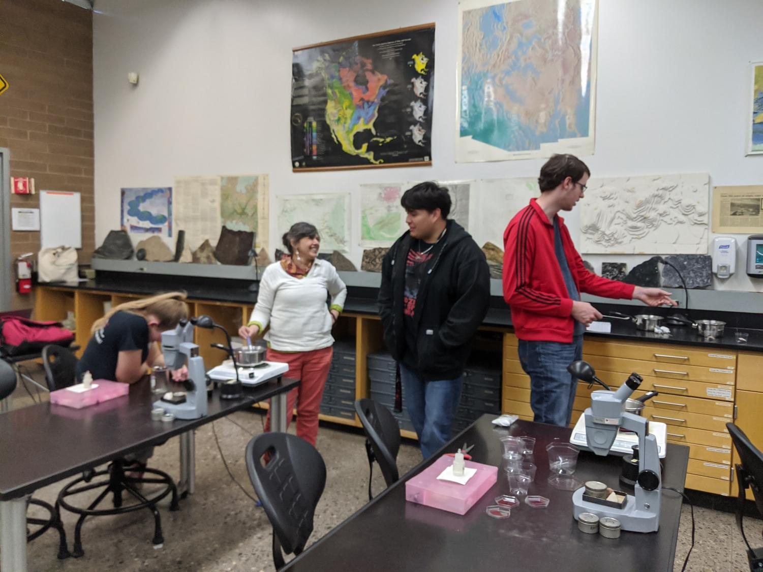 Geology club members create crystals during a meeting. The club meets every other Friday in Physical Science building, room 174