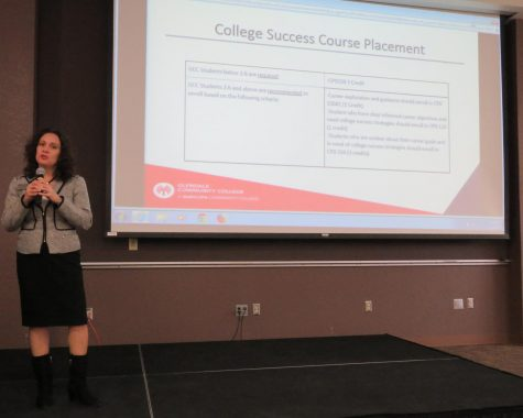 Glendale Community College Vice President of Student Affairs Monica Castaneda speaks during the Guided Pathways Open House Feb. 11 in Glendale, Ariz.