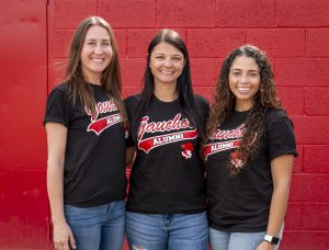 Glendale Community College head coach Rebecca Shaw (center) and her assistants Megan Erbe (left) and Mariah Ortiz (right) are looking to get the Gauchos back to the region playoffs a season after its second place finish in 2019.